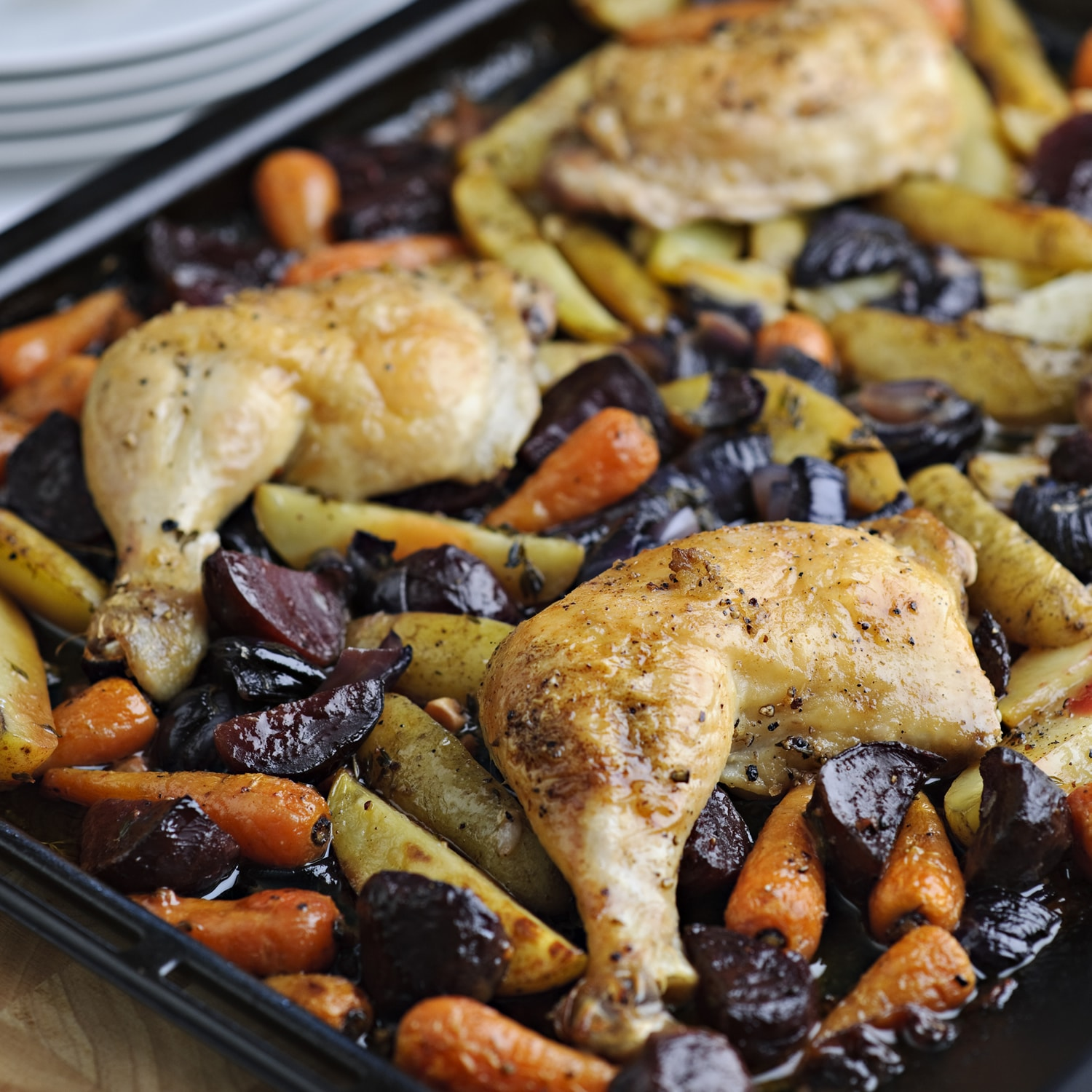 Skillet Chicken With Roasted Potatoes Carrots Recipe: One Pan Roast Lunch Of Chicken, Beetroot, Potatoes And