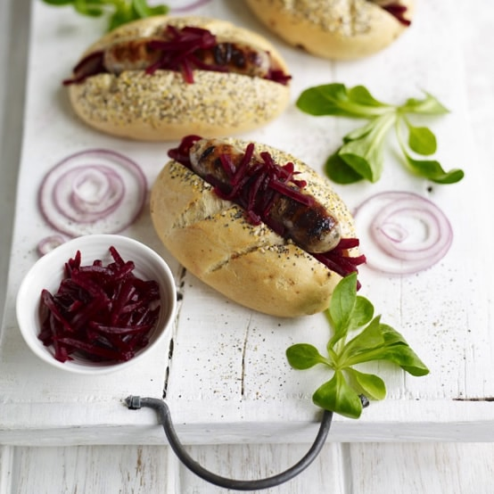 Hot dogs with smoke shredded beetroot